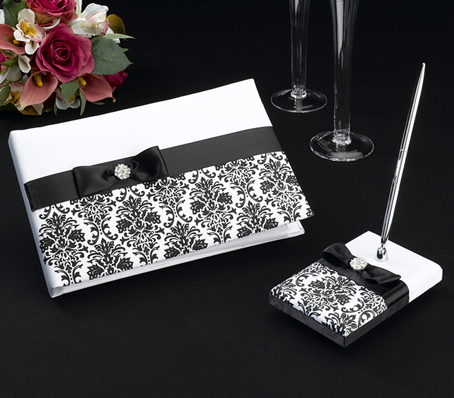 Black Damask Guest Book with Pen Set Weddings