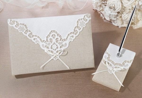 Country Lace Guest Book and Pen Set  Weddings