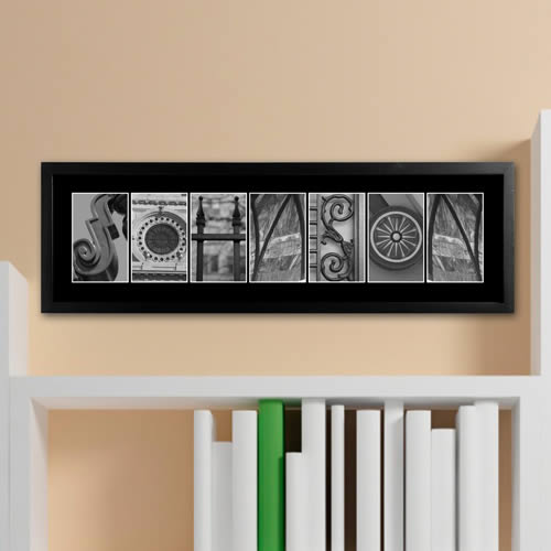 Personalized Architectural Elements II Black & White Family Name Print200  Weddings