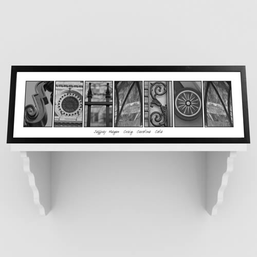 Personalized Architectural elements III B/W Family Name Print200  Weddings