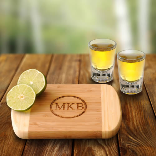 Personalized Bamboo Bar Board + 2 Shot Glasses  Weddings