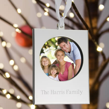 Personalized Silver Frame Ornament200  Weddings