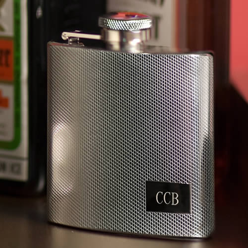 Personalized Textured 4 oz. Stainless Steel Flask  Weddings