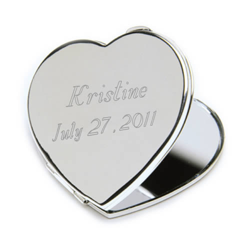Personalized Heart Compact Mirror200  Weddings