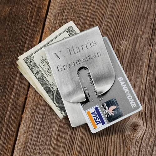 Personalized Brushed Harrison Clever Money Clip wallet Weddings