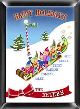 Personalized Traditional Family Holiday Sign ? Sledding200  Weddings