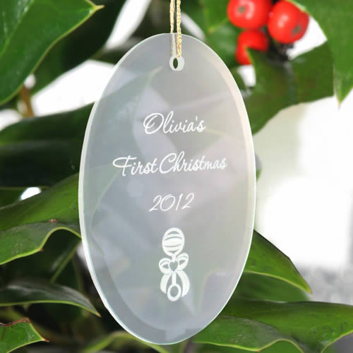Personalized Oval Beveled Glass Ornaments200  Weddings