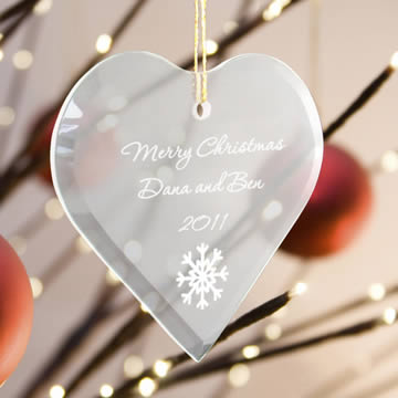 Personalized Heart Beveled Glass Ornaments200  Weddings