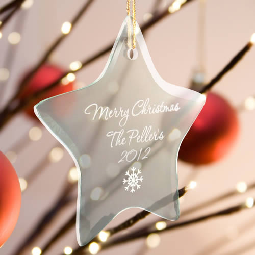 Personalized Star Beveled Glass Ornaments200  Weddings
