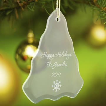 Personalized Tree Beveled Glass Ornaments200  Weddings