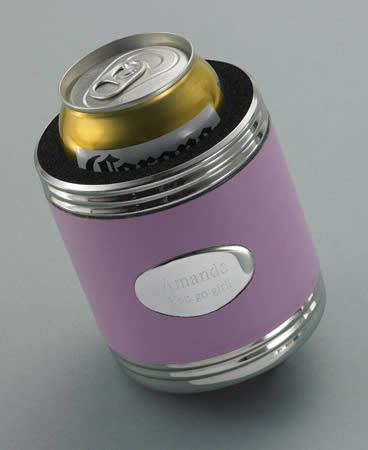 Personalized Pink Leather Koozie  Weddings