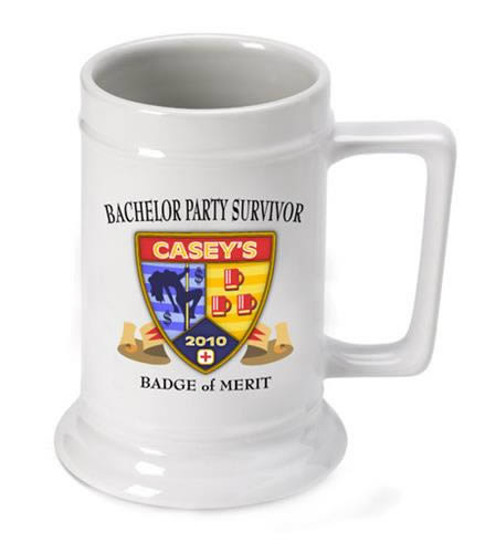 Personalized Bachelor Party Survivor Beer Stein (16 oz.)  Weddings