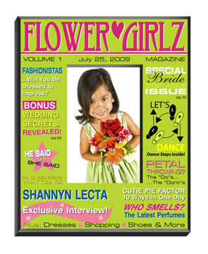 Personalized Flower Girls Magazine Frame (yellow, green)200  Weddings
