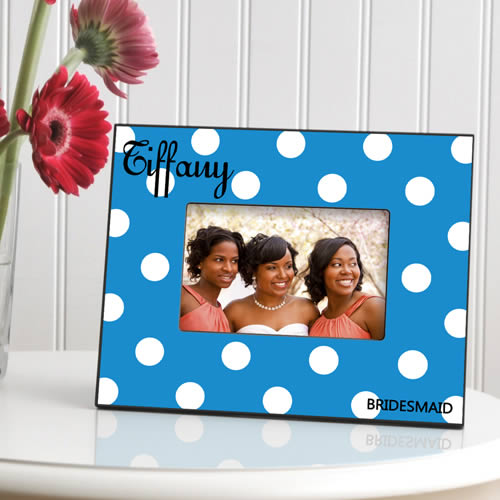 Personalized Polka Dot Picture Frame  Weddings