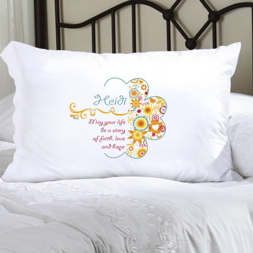 Personalized Celebrate Faith Pillow Case200  Weddings