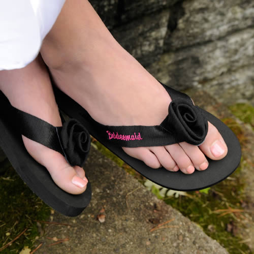 Personalized Black Embroidered Flip Flops200  Weddings