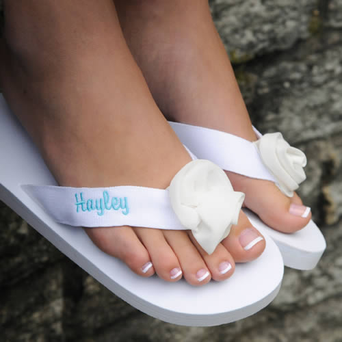 Personalized White Embroidered Flip Flops200  Weddings