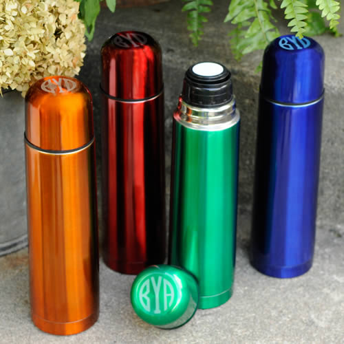 Personalized Sleek and Slim Thermos (orange, blue, green, red)200  Weddings