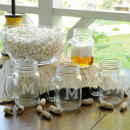 Personalized Collegiate Jar Glass Set of 4wholesale/GC943.jpg Wedding Supplies