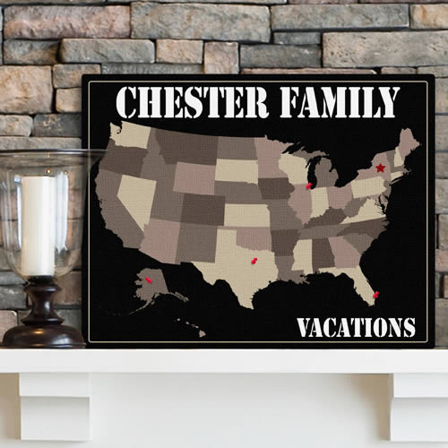 Personalized Family Map Canvas Prints200  Weddings