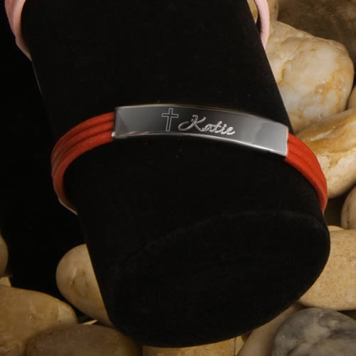 Personalized Inspirational leather bracelet (red, black, brown, pink)200  Weddings