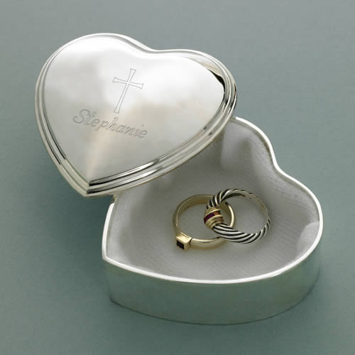 Personalized Silver Plated Heart Trinket Box200  Weddings