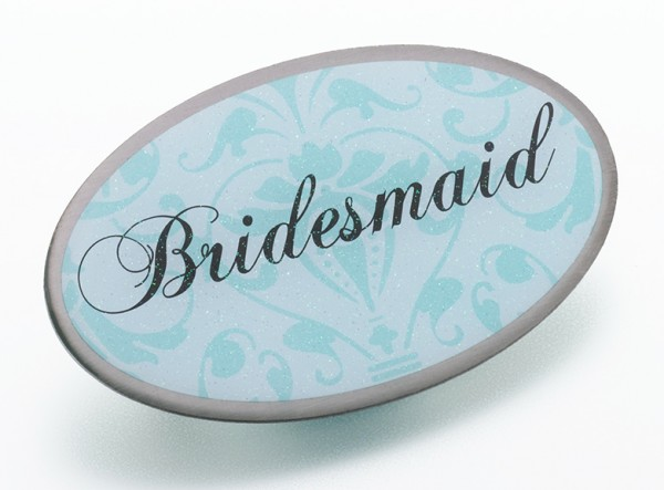 Aqua Oval Bridesmaid Pin200  Weddings