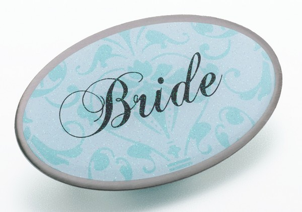 Aqua Oval Bride Pin200  Weddings