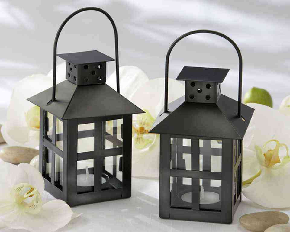 Luminous Black Mini-Lantern Tea Light Holderwholesale/KA14048BK.jpg Wedding Supplies