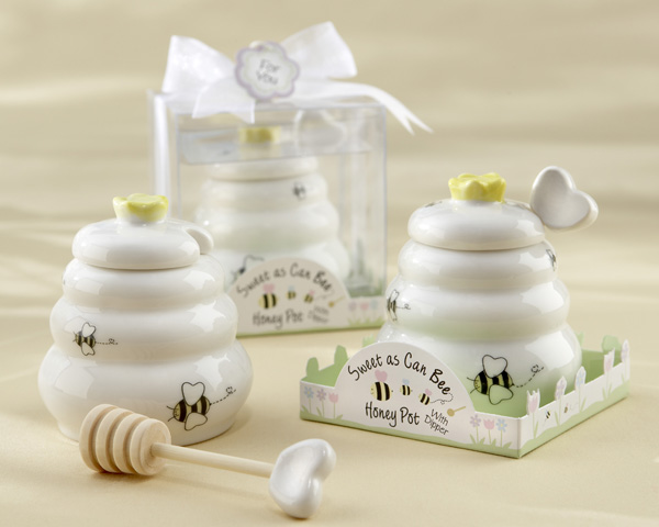 Ceramic Honey Pot with Wooden Dipper baby shower favors