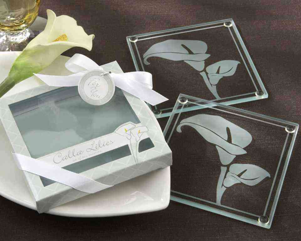 Calla Lilies Frosted-Glass Coasters in Floral Gift Boxwholesale/KA27048.jpg Wedding Supplies