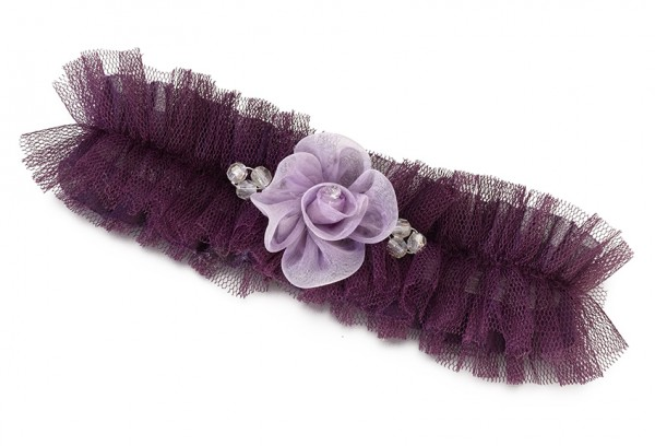 Plum Tulle Flower Garter Weddings