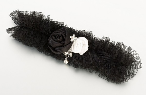 Black Tulle Jeweled Garter Weddings