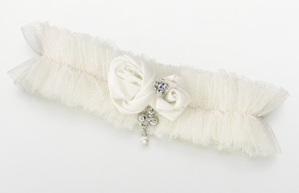 Ivory Tulle Jeweled Garter200  Weddings