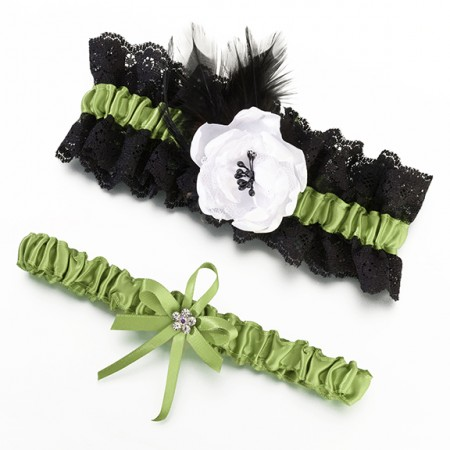 Green & Black Garter Set Weddings