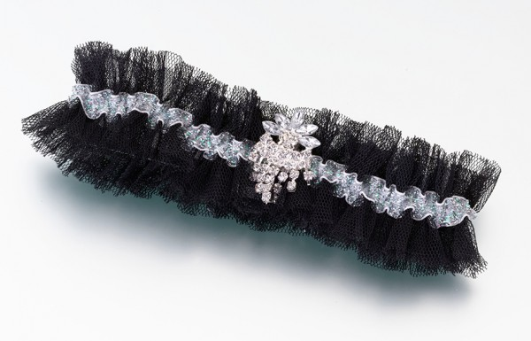 Black Tulle & Rhinestone Garter  Weddings