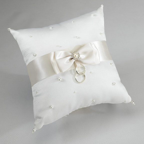 Ivory Pearl Ring Pillow200  Weddings