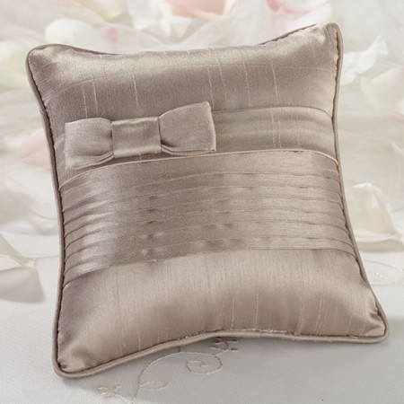 Taupe Pleated Ring Pillow  Weddings