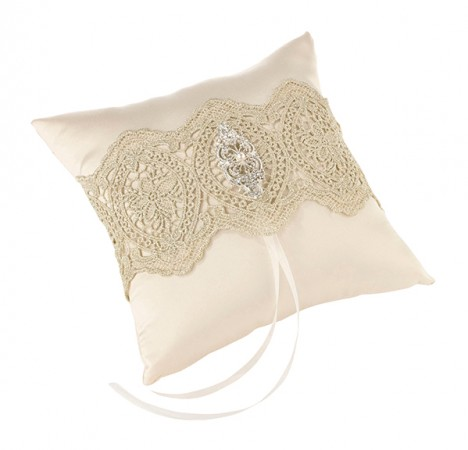 Gold Lace Ring Pillow  Weddings