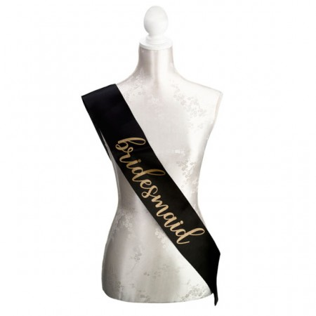 Black & Gold Satin Bridesmaid Sash200  Weddings