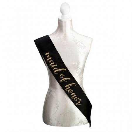 Black & Gold maid of honor sash baby shower favors