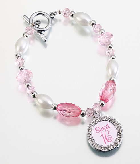 Sweet Sixteen Frame Charm Bracelet  Weddings