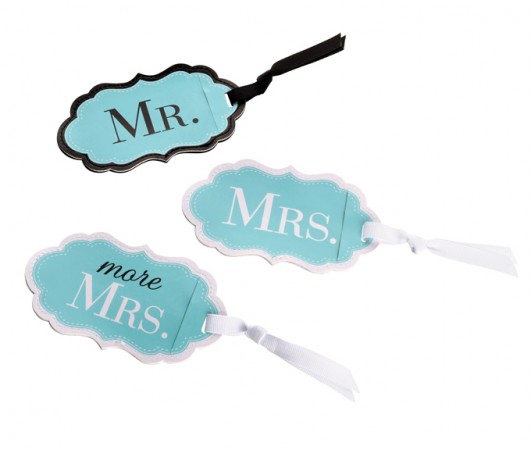 Aqua Mr., Mrs. and More Mrs. Luggage Tags Set/3200  Weddings