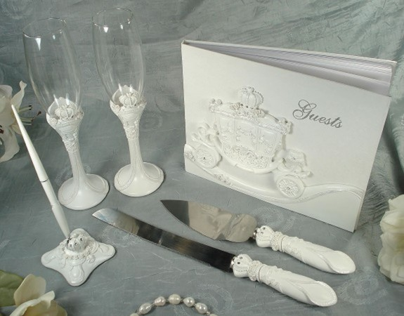 Bridal Carriage Wedding Set Guest Book Flutes Cake And Pen Setwholesale/b4269.jpg Wedding Supplies