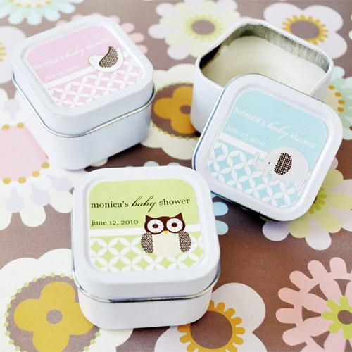 Baby Animal Square Candle Tins Shower Favors baby shower favors