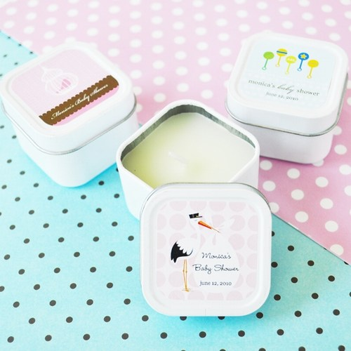 Elite Design Baby Shower Square Candle Tins baby shower favors