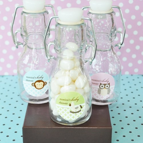 Baby Animal Personalized Mini Glass Bottles baby shower favors
