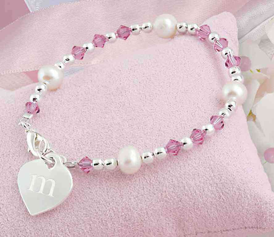 girl in stretch tone com enamel dp pretty butterfly amazon bracelet little pink bead silver and