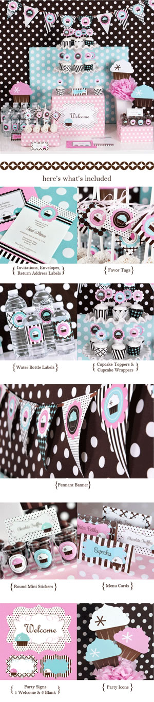 cup cake shower party kit