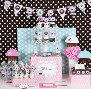 Cupcake Party Mod Party Kit baby shower favors